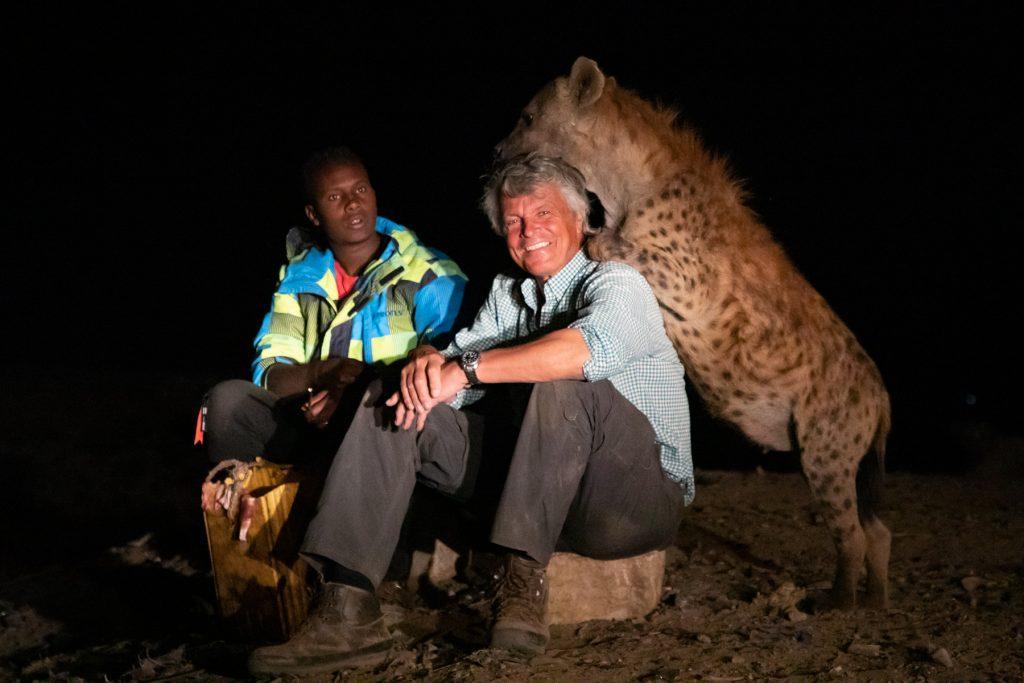 Abbas, on of the Hyena Men of Harrar, Mark Beaman of Wild Images and hyena friend